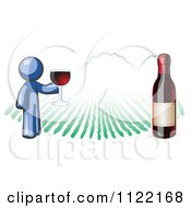 Cartoon Of A Blue Man Wine Tasting At A Winery Royalty Free Vector Clipart