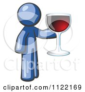 Cartoon Of A Blue Man Wine Tasting And Giving A Toast Royalty Free Vector Clipart