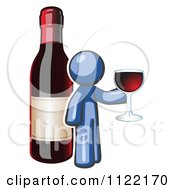 Cartoon Of A Blue Man Wine Tasting By A Giant Bottle Royalty Free Vector Clipart