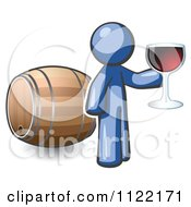 Cartoon Of A Blue Man Toasting By A Wine Barrel At A Winery Royalty Free Vector Clipart