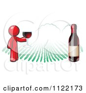 Cartoon Of A Red Man Wine Tasting At A Winery Royalty Free Vector Clipart