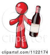 Cartoon Of A Red Woman Vintner Holding A Bottle Of Red Wine Royalty Free Vector Clipart