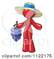 Cartoon Of A Red Woman Vintner Wine Maker Wearing A Hat And Holding Grapes Royalty Free Vector Clipart