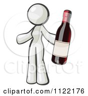 Cartoon Of A White Woman Vintner Holding A Bottle Of Red Wine Royalty Free Vector Clipart