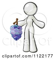 Cartoon Of A White Woman Vintner Wine Maker Holding Grapes Royalty Free Vector Clipart