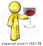 Cartoon Of A Yellow Man Wine Tasting And Giving A Toast Royalty Free Vector Clipart