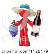 Cartoon Of A Red Woman Vintner Wine Maker Wearing A Hat And Holding Grapes And Wine Royalty Free Vector Clipart