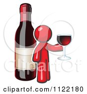 Cartoon Of A Red Man Wine Tasting By A Giant Bottle Royalty Free Vector Clipart