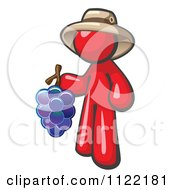 Cartoon Of A Red Man Vintner Wine Maker Wearing A Hat And Holding Grapes Royalty Free Vector Clipart