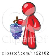 Cartoon Of A Red Man Vintner Wine Maker Holding Grapes Royalty Free Vector Clipart