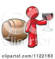 Cartoon Of A Red Man Toasting By A Wine Barrel At A Winery Royalty Free Vector Clipart