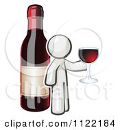 Cartoon Of A White Man Wine Tasting By A Giant Bottle Royalty Free Vector Clipart