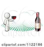 Cartoon Of A White Man Wine Tasting At A Winery Royalty Free Vector Clipart