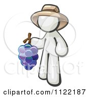 Cartoon Of A White Man Vintner Wine Maker Wearing A Hat And Holding Grapes Royalty Free Vector Clipart