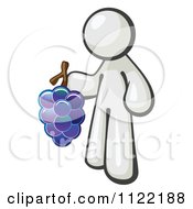 Cartoon Of A White Man Vintner Wine Maker Holding Grapes Royalty Free Vector Clipart