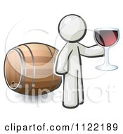 Cartoon Of A White Man Toasting By A Wine Barrel At A Winery Royalty Free Vector Clipart
