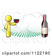Cartoon Of A Yellow Man Wine Tasting At A Winery Royalty Free Vector Clipart