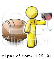 Cartoon Of A Yellow Man Toasting By A Wine Barrel At A Winery Royalty Free Vector Clipart