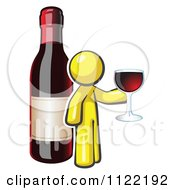 Cartoon Of A Yellow Man Wine Tasting By A Giant Bottle Royalty Free Vector Clipart