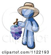 Cartoon Of A Blue Man Vintner Wine Maker Wearing A Hat And Holding Grapes Royalty Free Vector Clipart
