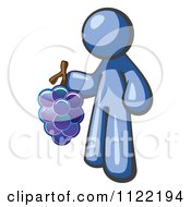 Cartoon Of A Blue Man Vintner Wine Maker Holding Grapes Royalty Free Vector Clipart