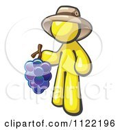 Cartoon Of A Yellow Man Vintner Wine Maker Wearing A Hat And Holding Grapes Royalty Free Vector Clipart by Leo Blanchette