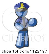 Cartoon Of A Blue Man Police Officer Royalty Free Vector Clipart by Leo Blanchette