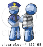 Cartoon Of A Blue Man Police Officer And Prisoner Royalty Free Vector Clipart