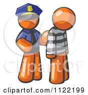 Cartoon Of An Orange Man Police Officer And Prisoner Royalty Free Vector Clipart