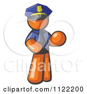 Cartoon Of An Orange Man Police Officer Royalty Free Vector Clipart by Leo Blanchette