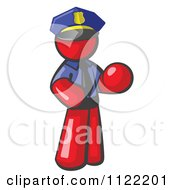 Cartoon Of A Red Man Police Officer Royalty Free Vector Clipart by Leo Blanchette