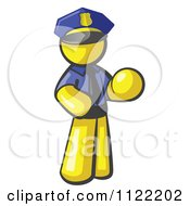 Cartoon Of A Yellow Man Police Officer Royalty Free Vector Clipart