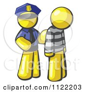 Cartoon Of A Yellow Man Police Officer And Prisoner Royalty Free Vector Clipart