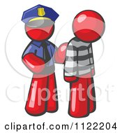 Cartoon Of A Red Man Police Officer And Prisoner Royalty Free Vector Clipart by Leo Blanchette