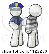 Cartoon Of A White Man Police Officer And Prisoner Royalty Free Vector Clipart