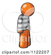 Cartoon Of A Moping Orange Man Prisoner Royalty Free Vector Clipart