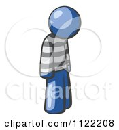 Cartoon Of A Moping Blue Man Prisoner Royalty Free Vector Clipart