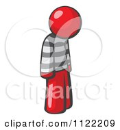 Cartoon Of A Moping Red Man Prisoner Royalty Free Vector Clipart