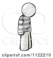 Cartoon Of A Moping White Man Prisoner Royalty Free Vector Clipart