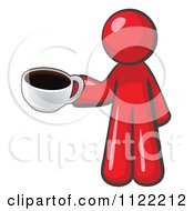 Cartoon Of A Red Man With A Cup Of Coffee Royalty Free Vector Clipart by Leo Blanchette