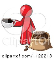 Cartoon Of A Red Man With A Cup Of Coffee Over A Bag Of Beans Royalty Free Vector Clipart by Leo Blanchette