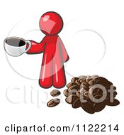 Cartoon Of A Red Man With A Cup Of Coffee By Beans Royalty Free Vector Clipart by Leo Blanchette