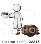 Cartoon Of A White Man With A Cup Of Coffee By Beans Royalty Free Vector Clipart by Leo Blanchette