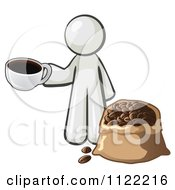 Cartoon Of A White Man With A Cup Of Coffee Over A Bag Of Beans Royalty Free Vector Clipart by Leo Blanchette