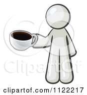 Cartoon Of A White Man With A Cup Of Coffee Royalty Free Vector Clipart by Leo Blanchette