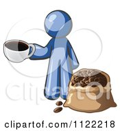 Cartoon Of A Blue Man With A Cup Of Coffee Over A Bag Of Beans Royalty Free Vector Clipart