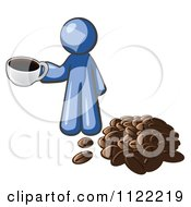 Cartoon Of A Blue Man With A Cup Of Coffee By Beans Royalty Free Vector Clipart