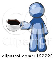 Cartoon Of A Blue Man With A Cup Of Coffee Royalty Free Vector Clipart