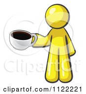 Cartoon Of A Yellow Man With A Cup Of Coffee Royalty Free Vector Clipart