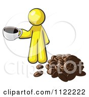 Cartoon Of A Yellow Man With A Cup Of Coffee By Beans Royalty Free Vector Clipart by Leo Blanchette